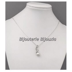 Magnifique Collier Pendentif Perle Majorque Argent Massif 925/000 Bijoux Femme