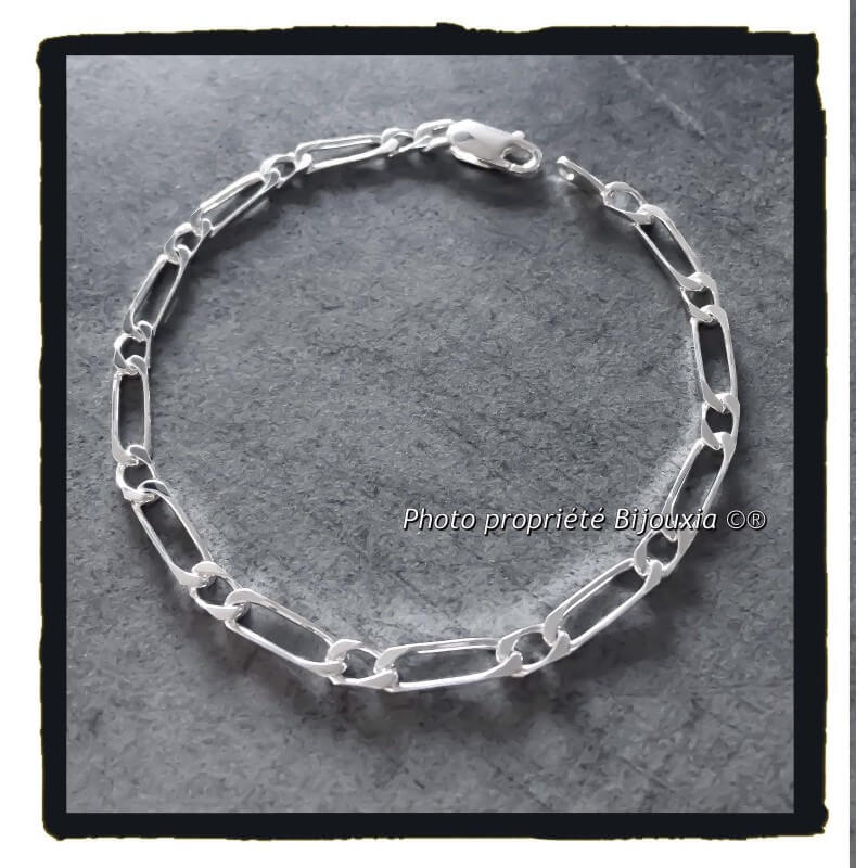 Bracelet Maille Figaro  5 MM X 21 CM Argent Massif 925/1000 Bijoux Homme  NEUF