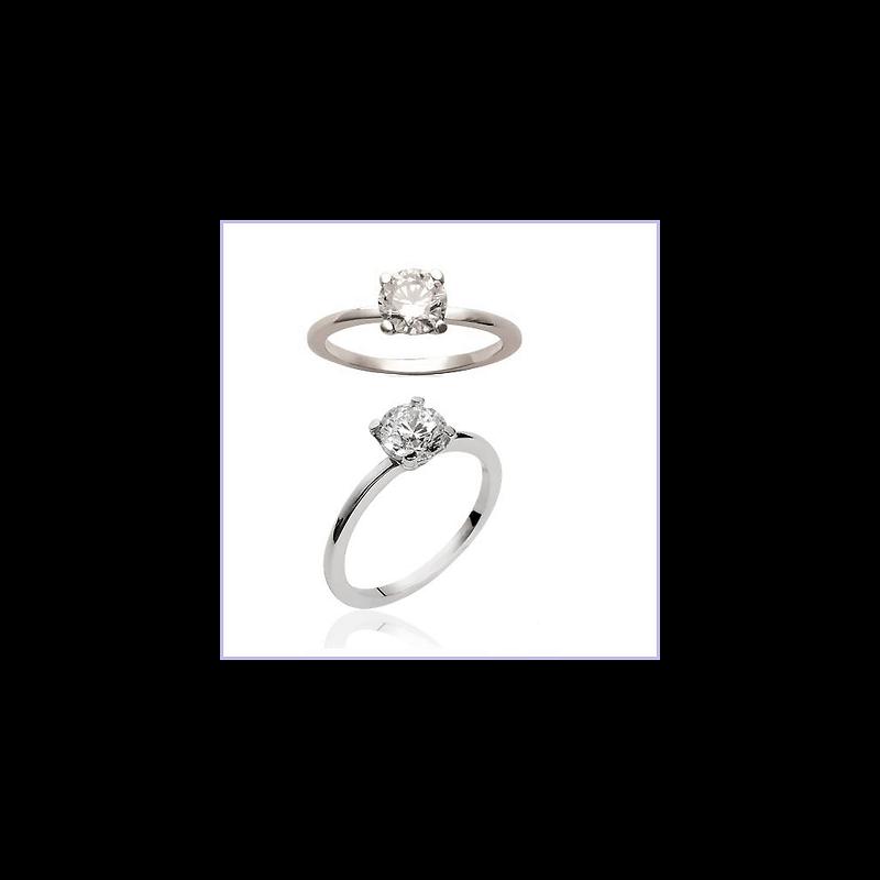 Bague Cristal Solitaire 6 MM Argent Massif 925/1000 Bijoux Femme
