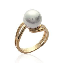 Bague Perle De Majorque Plaqué Or 18 Carats 5 Microns T48-50-52-54-56-58-60