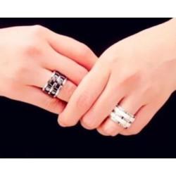 Bague Céramique Noire Double Rang- Et Acier Inoxydable- T52/53- Bijoux Femme