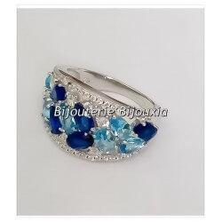 Bague cristal Azur Oxyde De Zirconium Argent Massif 925/000 Bijoux femme