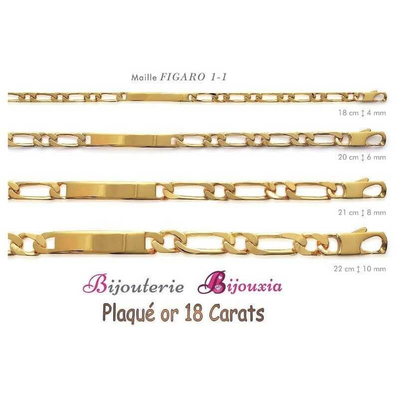 Bracelet Identité Gravure  Figaro Plaqué or 18Carats Garanti 10 ans Bijoux Mixte
