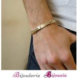 Bracelet Identité Gravure Gourmette Plaqué or 18 Carats 750/000 Garanti 10 ans