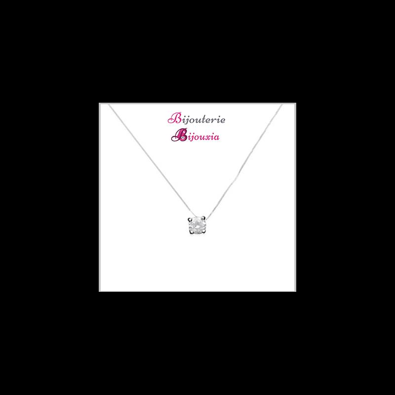 Collier Fil De Nylon  Diamant Solitaire CZ Argent Massif 925/000 Bijoux Femme