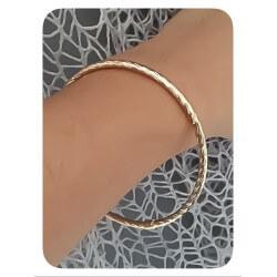 Bracelet Jonc Torsadé 6,2cm  Plaqué Or 18Carats Garanti 10 ans Bijoux Femme