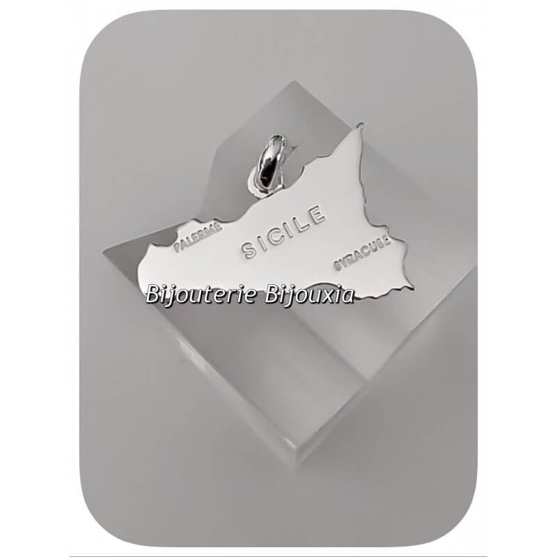 Pendentif Carte Sicile En Argent Massif 925/1000 Bijoux Neuf Avec Etiquette
