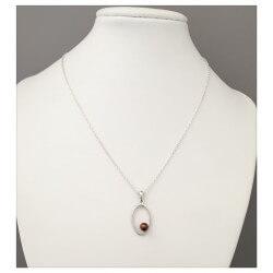 Pendentif Ovale De Zirconium Perle  En Argent Massif 925/000 Bijoux Femme