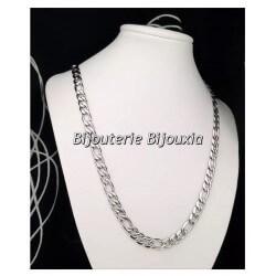 Chaîne Homme Maille Figaro diamantée 55CM Acier Inoxydable 316 L Bijoux NEUF