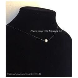 Collier Fil De Nylon  Perle d'eau douce Argent Massif 925/000 Bijoux Femme