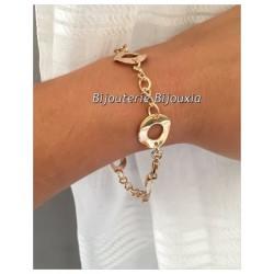 Bracelet Moderne Aneaux  Plaqué Or 18 carats Garanti  NEUF  Bijoux Femme
