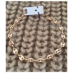 Bracelet Grain De Café 19cm  Plaqué or 18 Carats Poinçonné Bijoux femme
