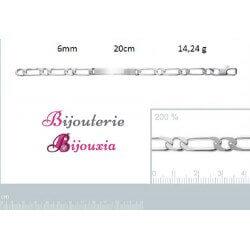 Bracelet FIGARO Gravures Identité - Argent Massif 925/000 Tailles au CHOIX