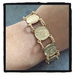 Bracelet Imitation Pièces Imitation Louis d' Or Plaqué Or  Bijoux Femme NEUF