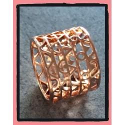 Bague Moderne ciselée Plaqué or 18 Carats ROSE Bijoux Tailles 50-52-54-56-58-60