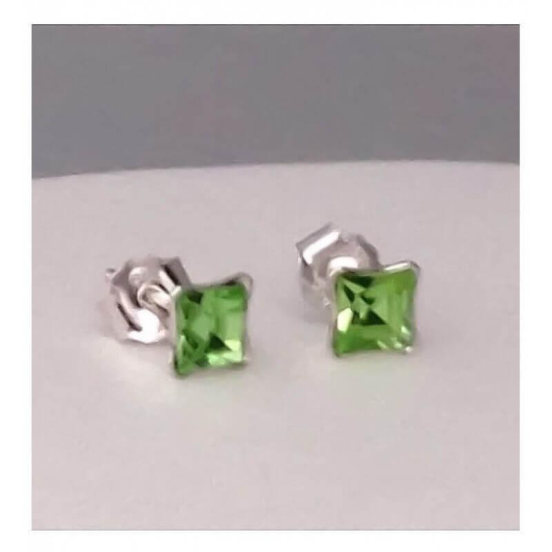 Boucles D'oreilles Clous-Argent Massif 925/000- Cristal Zirconium Vert - Bijoux