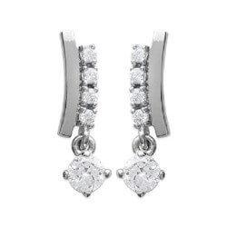 Boucles D'oreilles Cristaux Zirconium Argent Massif 925/000 Rhodié Bijoux Femme