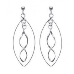 Boucles D'oreilles Pendantes -  Argent Massif 925/000 Rhodié-bijoux Femme