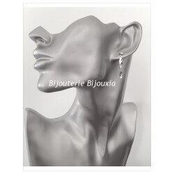 Boucles D'oreilles Tiges Pendantes Argent Massif 925/000 Bijoux Femme