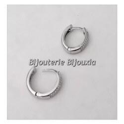 Boucles D'oreilles Créoles Microserti Zirconium Argent 925 Rhodié Bijoux Femme