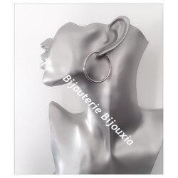 Boucles D'oreilles Créoles Rondes 4cm  Argent Massif 925/1000 Bijoux Femme