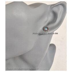 Boucles D'oreilles Puces Pierre turquoise  Argent 925/000 Rhodié Bijoux femme