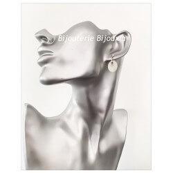 Boucles D'oreilles Pendantes NACRE Argent 925/1000 Bijoux Femme