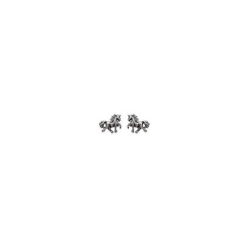 Boucles D'oreilles puces petits chevaux  Argent Massif 925 Millièmes Bijoux
