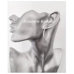 Boucles D'oreilles Créoles Rondes  3cm Argent Massif 925/1000 Bijoux Femme
