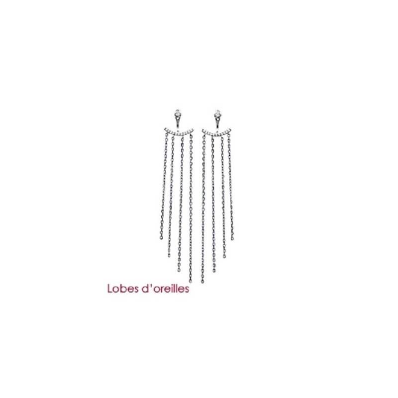 Boucles D'oreilles Chaînes pendantes Microserti Argent Massif 925°°°Bijoux Femme
