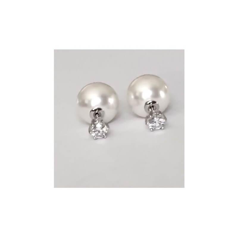 Boucles D'oreilles Double Perle&Cristal - Tendance Argent 925/1000 Bijoux Femme