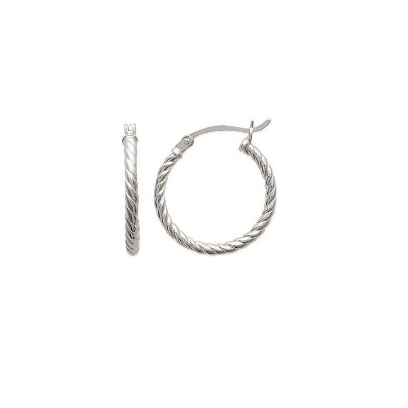Boucles D'oreilles Créoles Torsadées En Argent Massif 925/1000 Bijoux Femme