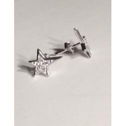 Boucles D'oreilles Etoiles -Argent Massif 925/000- Oxyde Zirconium- bijoux Femme