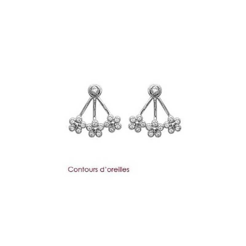 Boucles D'oreilles Lobes Fleurs et Zirconium Argent Massif 925/000 Bijoux Femme