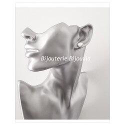 Boucles D'oreilles rondes en Nacre & Argent Massif 925/1000 Bijoux Femme NEUF