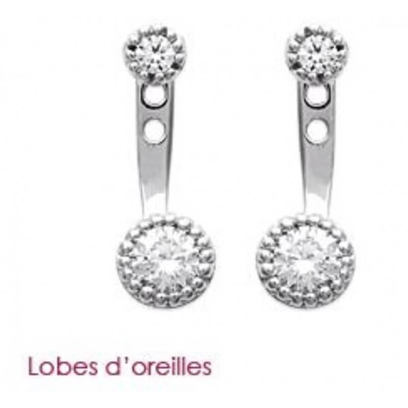 Boucles D'oreilles Lobes Cristaux ZIRCONIUM Argent 925/1000 Rhodié Bijoux Femme