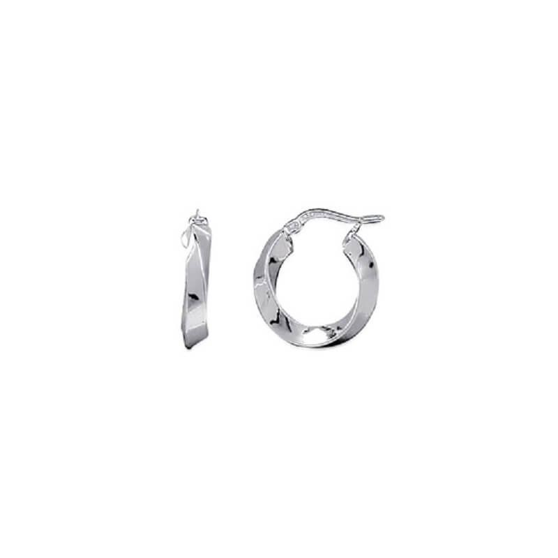 Boucles D'oreilles Créoles Ondulées  2cm  Argent Massif 925/1000  Bijoux Femme