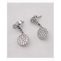 Boucles D'oreilles Lobes- Cristaux ZIRCONIUM-Argent 925/1000-Rhodié-Bijoux Femme