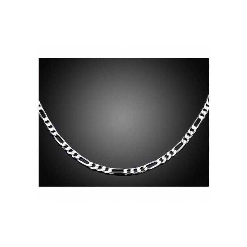 Chaîne Maille Figaro Diamantée 50cm Argent Massif 925/1000  Bijoux Homme NEUVE