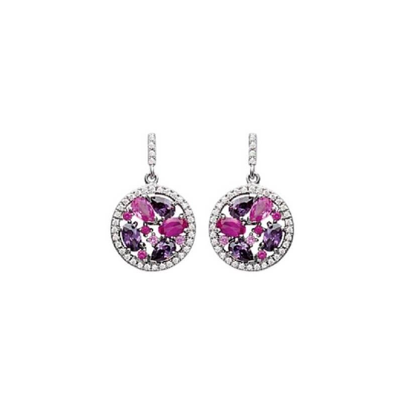 Boucles D'oreilles Pendantes CRISTAL ROSE Zirconium Argent 925/1000 Bijoux Femme