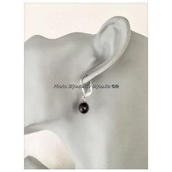 Boucles D'oreilles Dormeuses Perles D'eau Douce Naturelle Argent Bijoux Femme