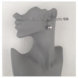 Boucles D'oreilles Grosses Boules 14MM Argent Massif 925/1000 Bijoux Femme