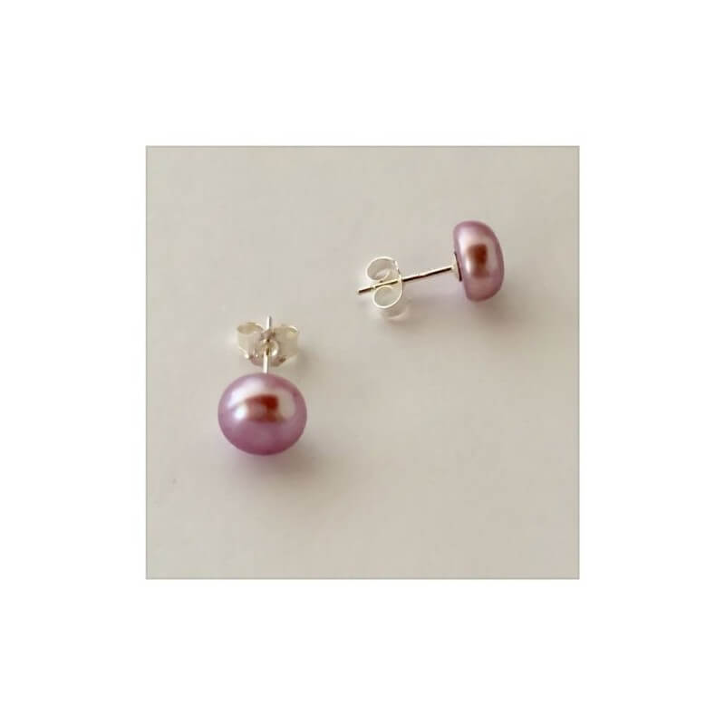Boucles D'oreilles Véritables Perles D'eau Douce Naturelle-Colorées - Argent 925
