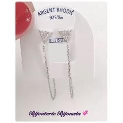 Boucles D'oreilles Chaînette & Zirconium Argent Massif 925/000 Bijoux Femme