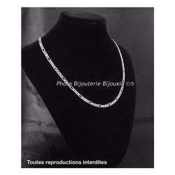 Chaîne Maille Figaro Diamantée 45 X 4MM Argent Massif 925 Poinçonné Bijoux