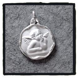 Pendentif Médaille Ange en Argent Massif 925/1000 Bijoux NEUF