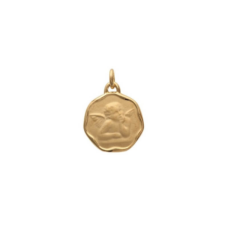 Pendentif Médaille Ange en Plaqué or 18 Carats Bijoux NEUF