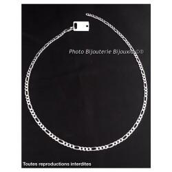 Chaîne Maille Figaro Diamantée 50 X 4MM Argent Massif 925 Poinçonné Bijoux