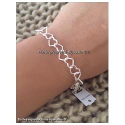 Bracelet Maille Coeurs En Argent Massif 925/000 Bijoux Femme