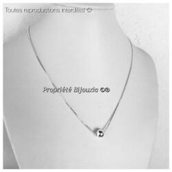 Collier Pendentif Boule et Chaîne serpent Argent Massif 925/1000 Bijoux Femme
